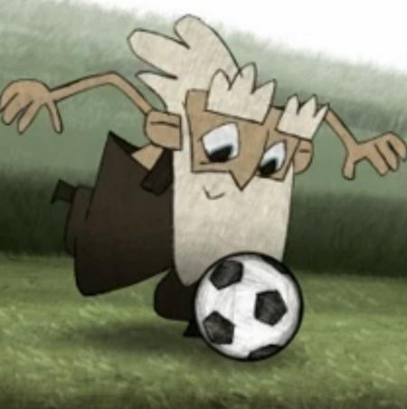 Tecknad äldre man med långt skägg spelar fotboll.