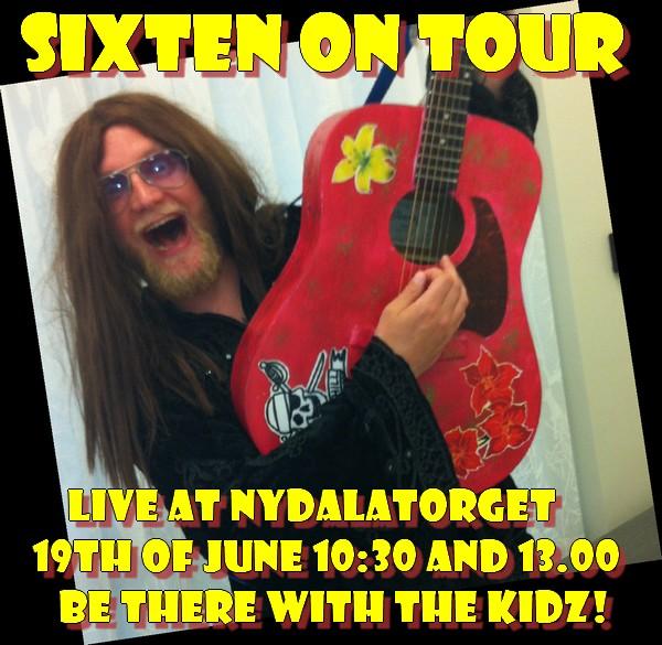 Sixten on tour-affisch med man i långt hår med röd gitarr.