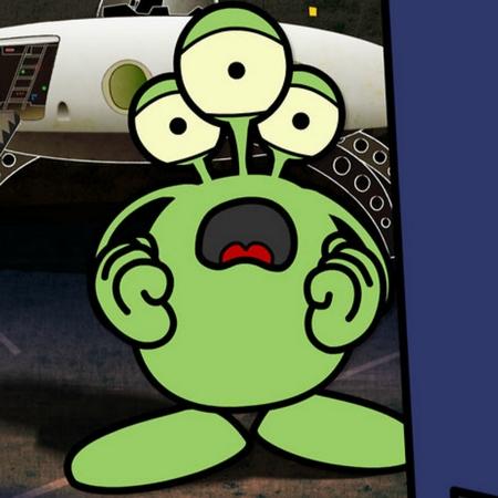 Tecknad figur med tre ögon ser ledsen ut.