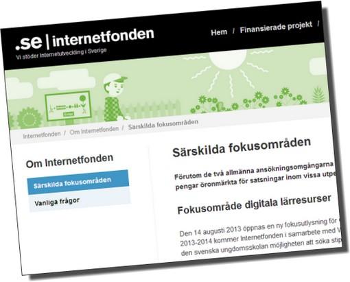 Skärmavbild av internetfonden.