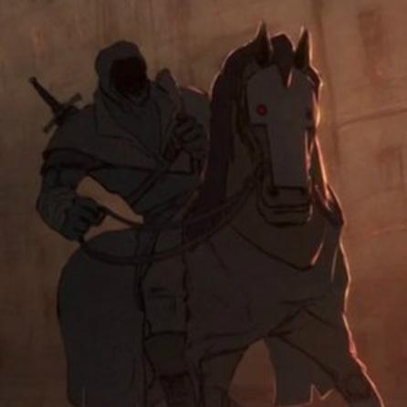 Tecknad riddare till häst.