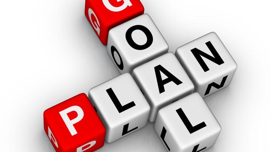 Bokstavstärningar bildar orden goal plan.