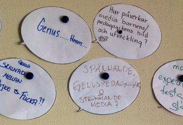 Pratbubblor med tankar om genus skrivna i.