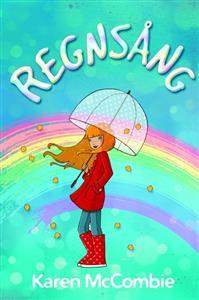 Tecknad flicka framför regnbåge.