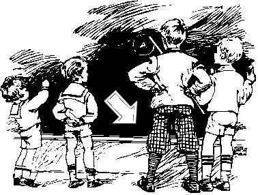 Tecknad tavla med fyra barn.