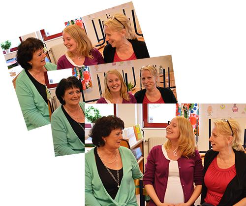 Tre pedagoger skrattar tillsammans.