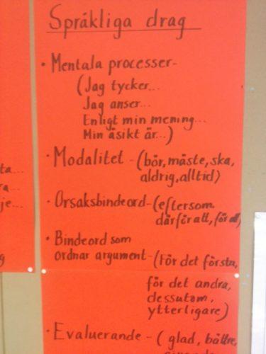 Affisch med lista över språkliga drag.
