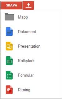 Skärmavbild av hur man skapar olika saker i google.