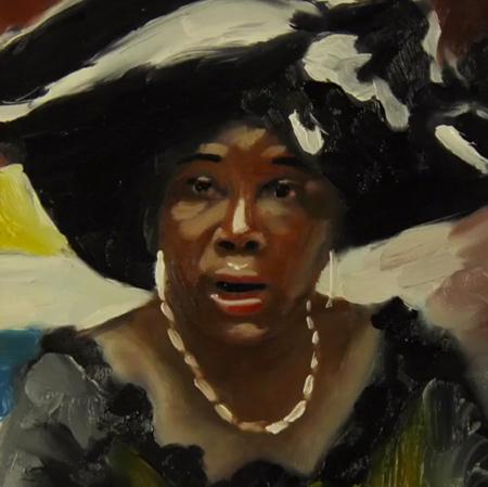 Målning av kvinna med stor hatt.