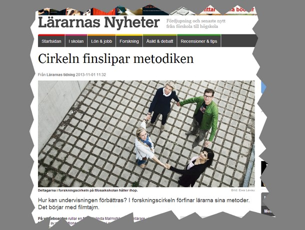 Skärmavbild från lärarnas nyheter.