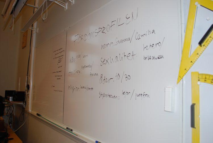 Anteckningar på whiteboard.