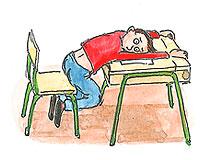 Tecknad elev som ligger över bänk.