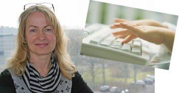 Kvinna och händer som skriver på tangentbord.