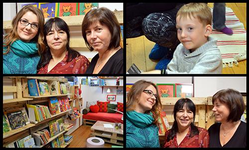 Pedagoger och barn i bibliotek.