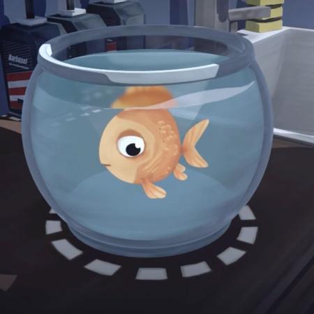 Tecknad fisk i skål.