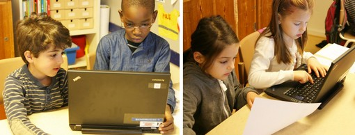 Barn jobbar vid datorer.