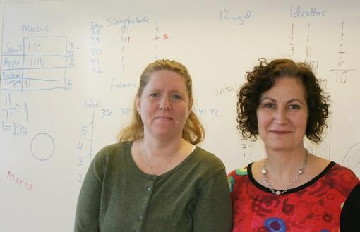 Margit Utzi och Lotta Elfstam står vid whiteboard.
