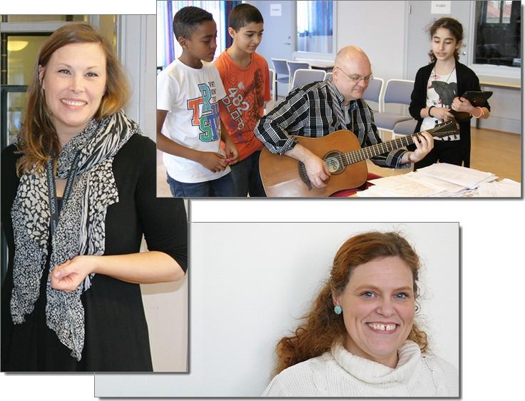 Pedagoger och elever spelar gitarr.