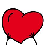Händer håller upp tecknat hjärta.