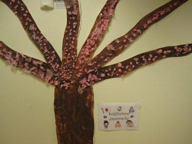 Tecknat japanskt träd på vägg.