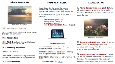 Skärmbild av studiedagens sajt.