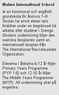 Fakta om Malmö International school.