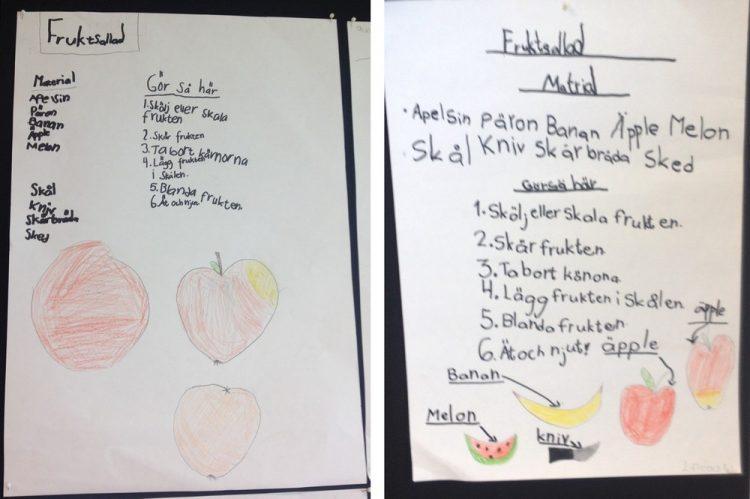 Tecknat recept på fruktsallad.