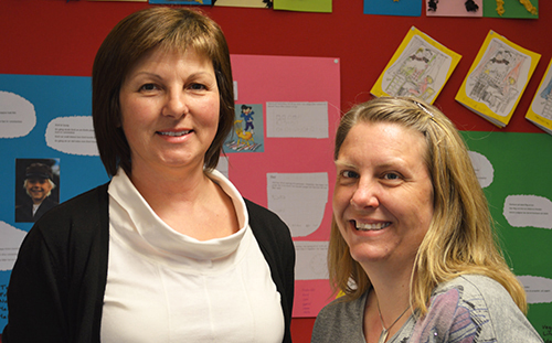 Iva Staxberg och Sandra Jaenecke framför uppsatta texter på vägg.