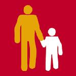 Tecknad vuxen håller tecknat barn i handen.