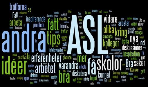 Ordmoln med olika begrepp kring ASL.
