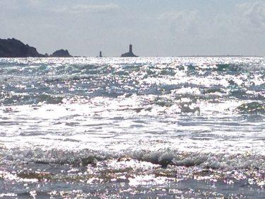 Havsvågor som rullar in.