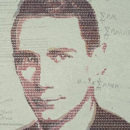 Ettor och nollor bildar ett mansporträtt.