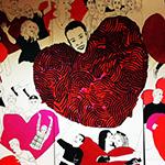 Tecknade hjärtan och gubbar.