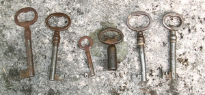 Sex gamla nycklar ligger uppradade.