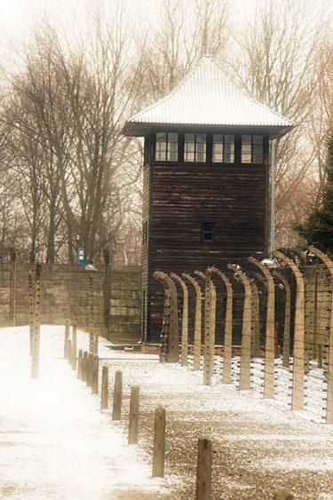 Vakttorn framför taggtrådsstaket.