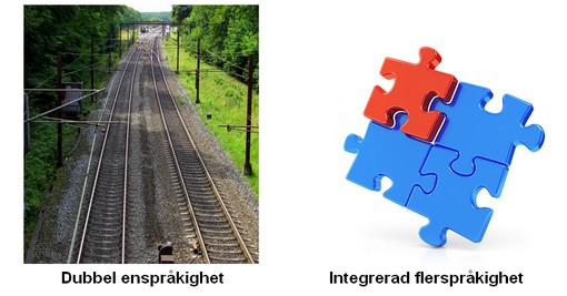 Järnvägsspår bredvid pussel.