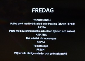 Matsedel från Malmö Latinskola.