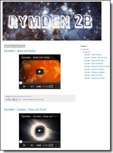 Skärmbild av blogg om rymden.