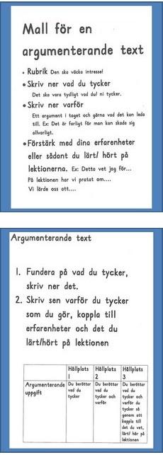 Affischer med mall för argumenterande text.