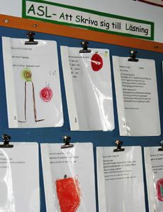 Texthäften uppsatta på vägg under rubriken ASL.