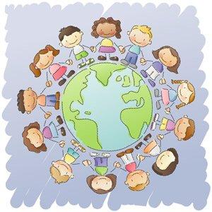 Tecknade barn håller händerna när de står runt jordgloben.