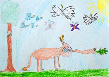 Teckning av elefant.