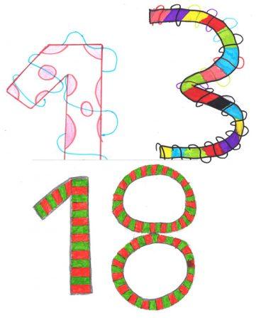 Siffrorna 13 och 18 målade med mönster.