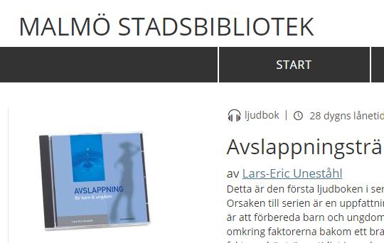 Skärmbild från Malmö stadsbibliotek.