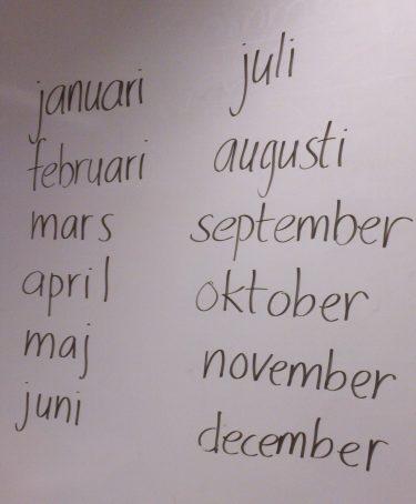 Årets månader uppskrivna på tavla.