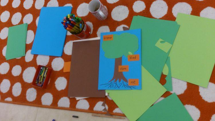 Papper och pennor på ett bord.