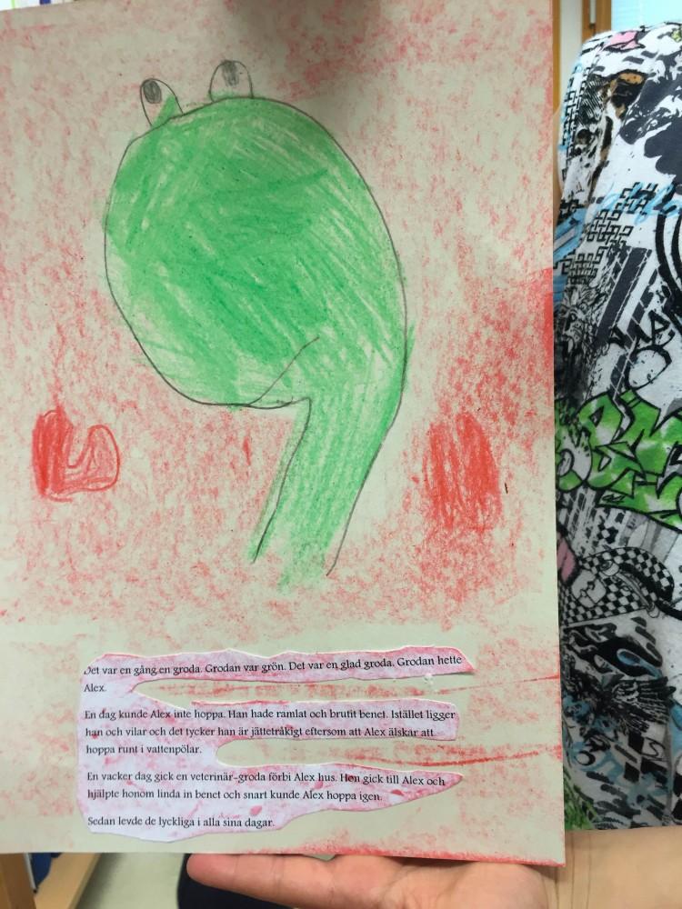 Teckning av grönt odjur.