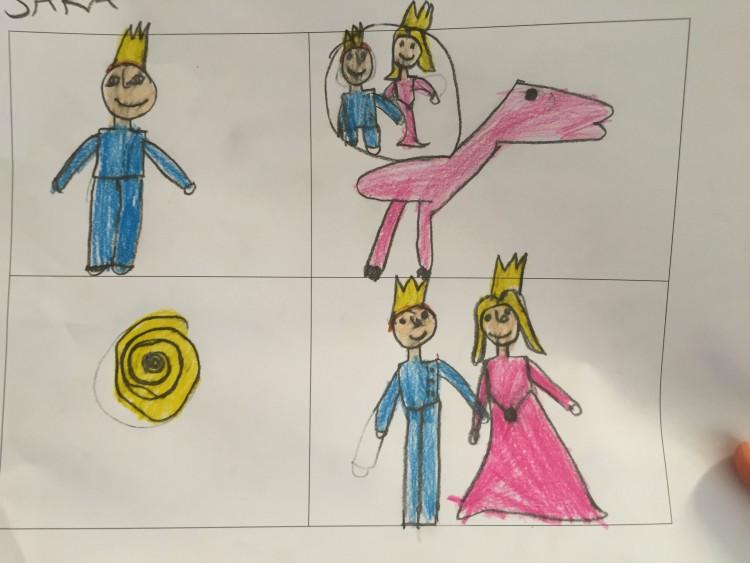 Teckningar av prins och prinsessa.