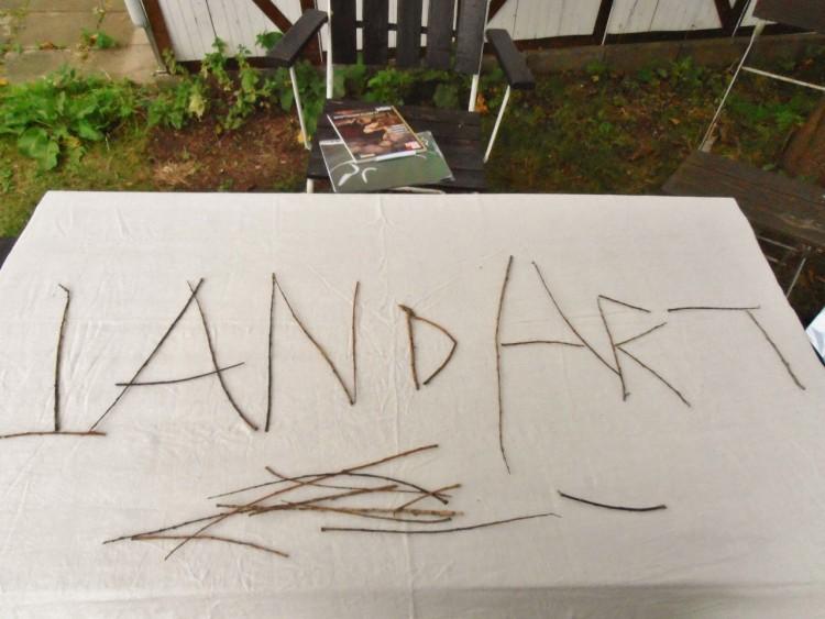 "Grenar bildar orden ""Land art""."