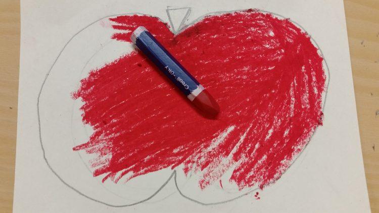 Teckning av ett äpple.